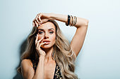 Glamour portrait of sensual long blond hair woman