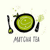 Matcha tea set. Vector doodle illustration. Japanese tea ceremony