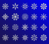 Cute snowflakes collection isolated on gradient background. Winter blue christmas snow flake crystal element. Weather illustration ice collection.