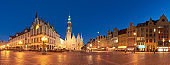 Market square and Town Hall at night in Wroclaw, Poland