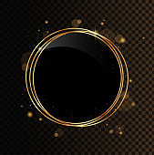 Shining circle banner. Gold geometrical polyhedron with black mirror. Isolated on black transparent background.