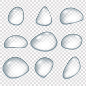 Realistic water drops, drops after the rain. Glass sphere, isolated rain elements. Condensation surface or fogged glass.