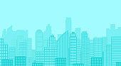 City skyline vector illustration. Urban landscape. Daytime cityscape in flat style.