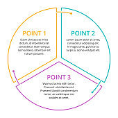 Infographics with 3 steps in thin line