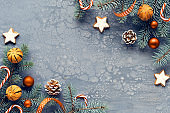 Grey textured Christmas background Zero Waste biodegradable Christmas decorations