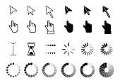 Web arrows cursors, mouse clicking and grab hand pixel icon. Computer pointers, internet cursor click. Pointer cursor icons.