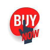 Buy now sticker with hand