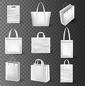 Empty shopping bags set isolated. Set of beautiful, realistic shopping bags. Paper texture and silk handles.