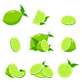 Lime citrus fruit, green and juicy, juice vitamin organic. Collection of fresh limes. Designed for logos and web sites