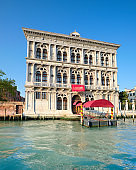 Casino di Venezia, historic building with a pier on Grand Canal on a bright day