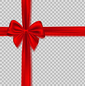 Realistic red bow with ribbon. Ribbons for decoration hair bow celebration party items isolated on transparent background