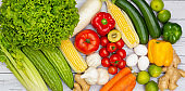 Assortment of Fresh vegetables and fruits background,Healthy food