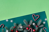 Christmas two tone green background with text space. Top panoramic view, on fir twigs with decor