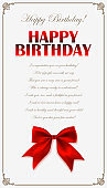 Happy birthday invitation card with red bow in farme. Birthday greeting card design. Happy Birthday congratulatory text