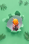 Kiwano, small exotic orange spiky fruit in human hand showing out of paper hole in tropical green geometric background with palm leaves