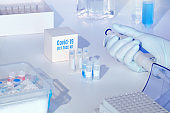 Test kit to detect novel COVID-19 coronavirus in patient samples. RT-PCR kit allows to convert viral Covid19 RNA to DNA and amplify specific sequence of 2019-nCov in viral gene coding spike.