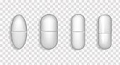 Medical tablets of various forms. Pills, painkiller, vitamin, antibiotic, aspirin.