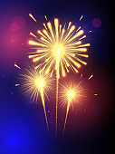 Shining Fireworks with golden ring. All light effects, stars isolated and grouped. Colorful fireworks vector on dark blue background with sparking bokehs