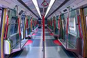 Empty subway car.