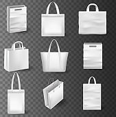 Realistic Shopping Bag Mockup set for branding and corporate identity design. Paper package and price tags template isolated on white