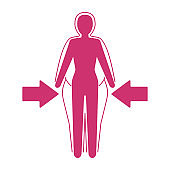 Losing weight icon - fitness or liposaction logo