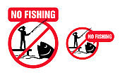 No Fishing sign - fisherman that wants to catch
