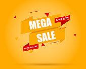 Shop now tag. Mega sale banner. Price tag. Sale tag