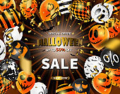 Halloween Sale Promotion Poster with Halloween confetti and Halloween Ghost Balloons. Great for voucher, offer, coupon, holiday sale. Website spooky or banner template