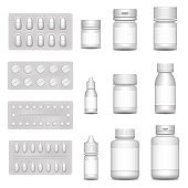 3d blank template medical packaging for pill and liquid medication: spray bottles, container for drug, medicine jar with cap. Set of white blisters realistic icons with pills and capsules.