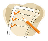 Checklist in drawn thin line decoration