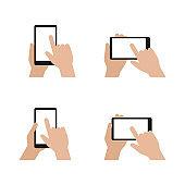 Hands holding smart phone - vector set