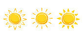 Sun in drawn style for emblem or logo