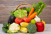 Group Healthy fresh fruit in a wooden basket,