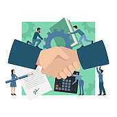 Business team - group of people with handshake