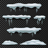 Snow caps. Snowcap, pile, icicles, isolated on background, transparent, ice, snowball and snowdrift. Snow elements.