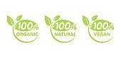 100 natural, vegan, organic icons set - badge