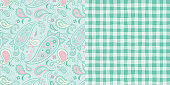 Pattern_Set_Seamless_Floral_Paisley_Gingham_Patterns_Pink_Mint_Green_Background