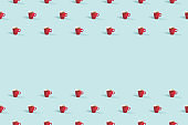 Cups of coffee on blue background