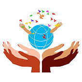 Many women's hands with different skin colors hold the globe. Environmental care