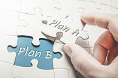 Plan A and Plan B In A Missing Piece Jigsaw Puzzle, Two Fingers Holding Plan A Piece