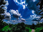 The view of the blue sky with clouds over the landscape