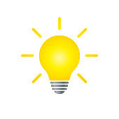 Light bulb icon. Incandescent lamp symbol. Idea and innovation sign. Creative energy or inspiration logo. Isolated on white background. Vector illustration image.