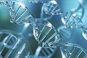 blue DNA spiral structure.
