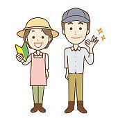Illustration of farmers men and women.