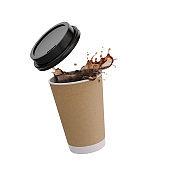 Coffee liquid Splash with paper cup.