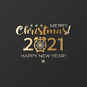 Christmas emblem. Vector 2021, large numbers, clock face with snowflakes. Logo. Happy New Year.