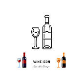 Wine line icon. A bottle of wine and a glass, Red and White Wine. Emblem design, Vector outline illustration