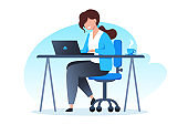 A woman works at a laptop and drinks coffee. Home office, freelance and online training, education. Vector flat illustration.