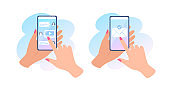 A hand holds a phone with a message on screen. Sending a message and online chat. Envelope on touch screen. Vector flat cartoon illustration for websites and banners design.