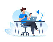 A man works at a laptop and drinks coffee. Home office, freelance and online training, education. Vector flat illustration.